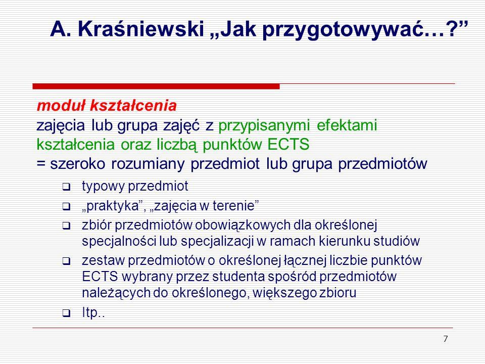 7 A. Kraśniewski Jak przygotowywać…? moduł kształcenia zajęcia lub grupa zajęć z przypisanymi efektami kształcenia oraz liczbą punktów ECTS = szeroko