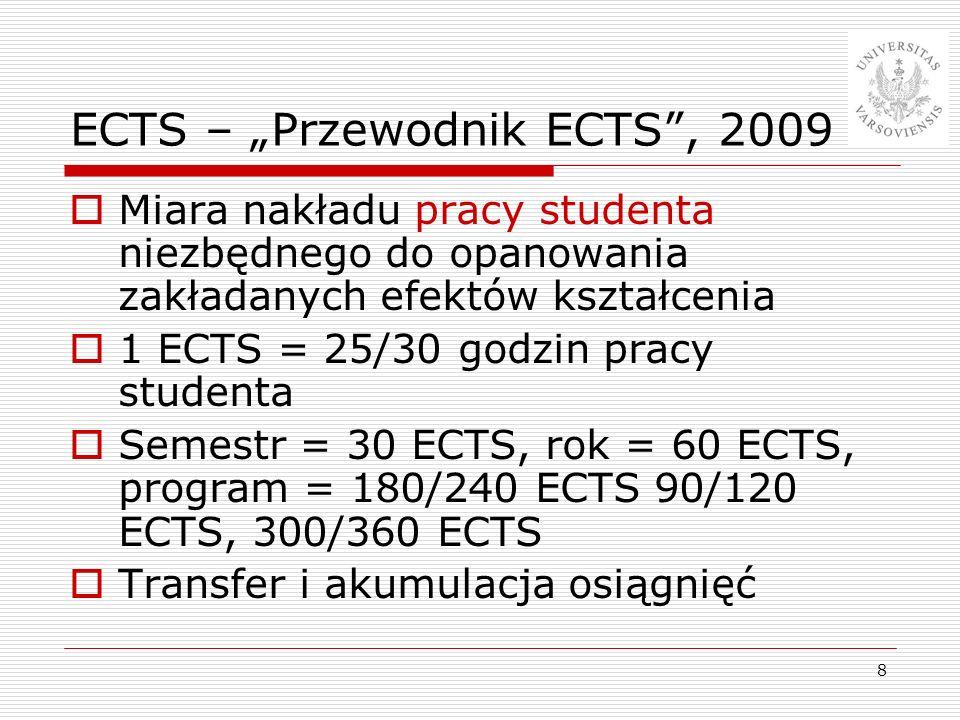 8 ECTS – Przewodnik ECTS, 2009 Miara nakładu pracy studenta niezbędnego do opanowania zakładanych efektów kształcenia 1 ECTS = 25/30 godzin pracy stud