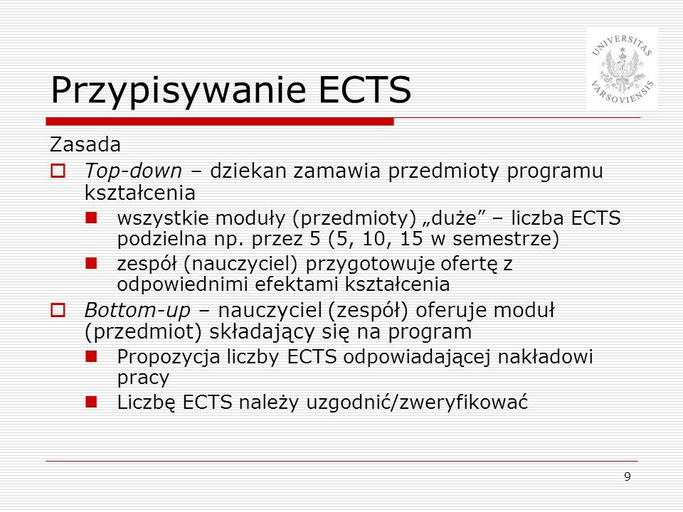 9 Przypisywanie ECTS Zasada Top-down – dziekan zamawia przedmioty programu kształcenia wszystkie moduły (przedmioty) duże – liczba ECTS podzielna np.