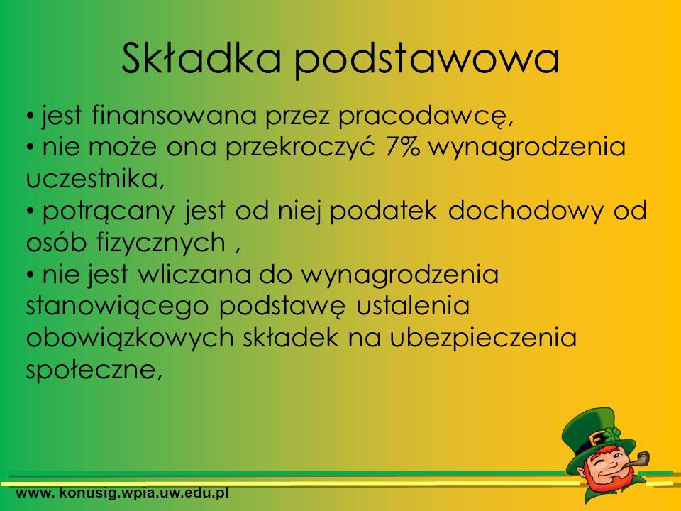 www. konusig.wpia.uw.edu.pl Składka podstawowa jest finansowana przez pracodawcę, nie może ona przekroczyć 7% wynagrodzenia uczestnika, potrącany jest