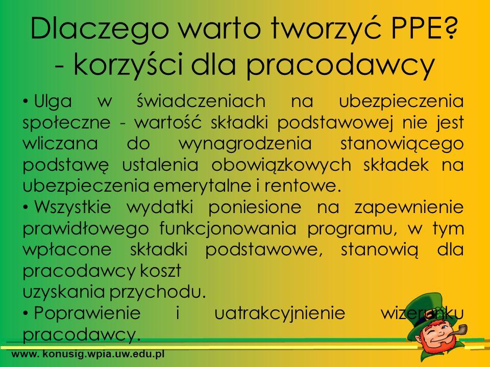 www. konusig.wpia.uw.edu.pl Dlaczego warto tworzyć PPE? - korzyści dla pracodawcy Ulga w świadczeniach na ubezpieczenia społeczne - wartość składki po