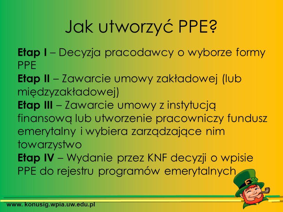 www. konusig.wpia.uw.edu.pl Jak utworzyć PPE? Etap I – Decyzja pracodawcy o wyborze formy PPE Etap II – Zawarcie umowy zakładowej (lub międzyzakładowe