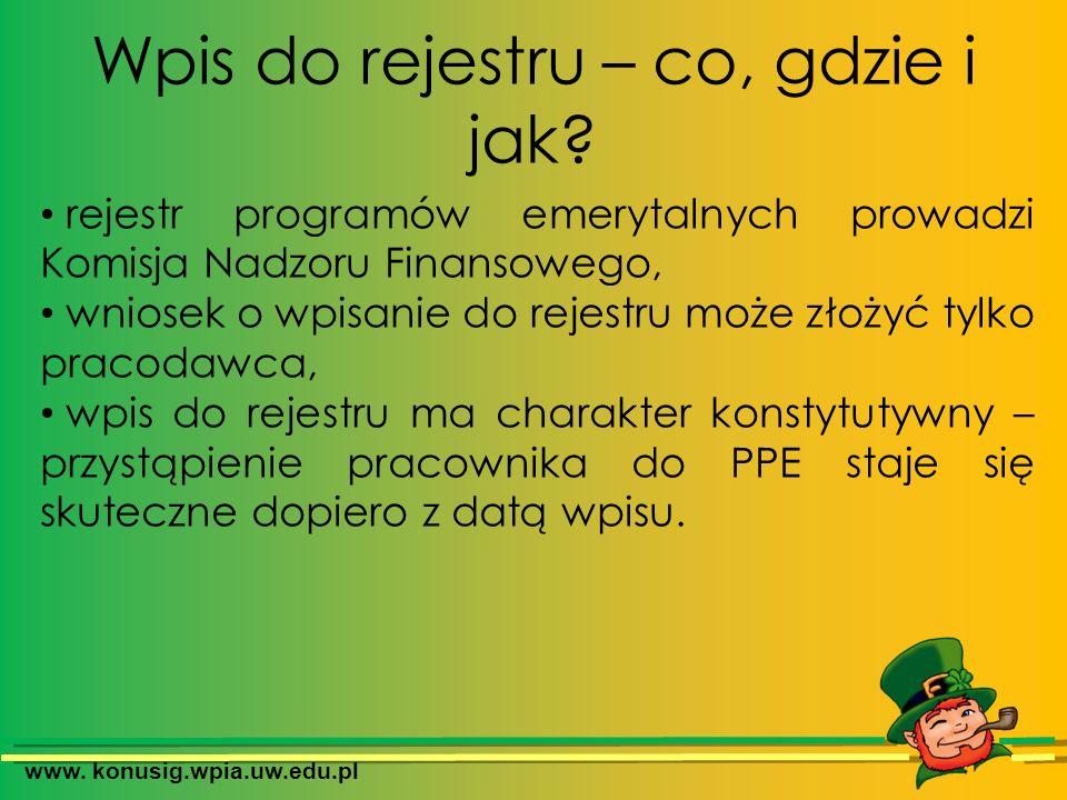 www. konusig.wpia.uw.edu.pl Wpis do rejestru – co, gdzie i jak? rejestr programów emerytalnych prowadzi Komisja Nadzoru Finansowego, wniosek o wpisani