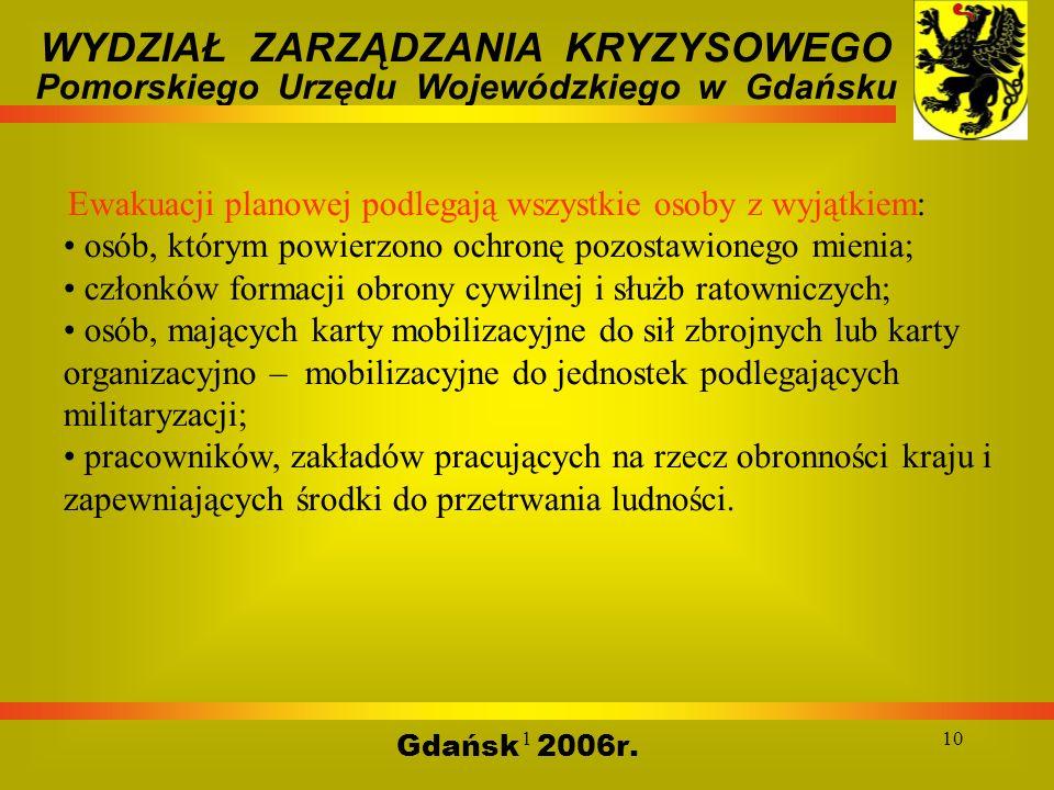 110 Gdańsk 2006r. WYDZIAŁ ZARZĄDZANIA KRYZYSOWEGO Pomorskiego Urzędu Wojewódzkiego w Gdańsku Ewakuacji planowej podlegają wszystkie osoby z wyjątkiem: