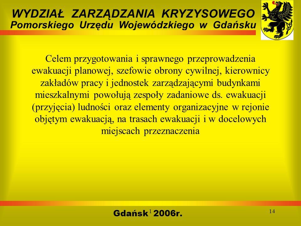 114 Gdańsk 2006r. WYDZIAŁ ZARZĄDZANIA KRYZYSOWEGO Pomorskiego Urzędu Wojewódzkiego w Gdańsku Celem przygotowania i sprawnego przeprowadzenia ewakuacji