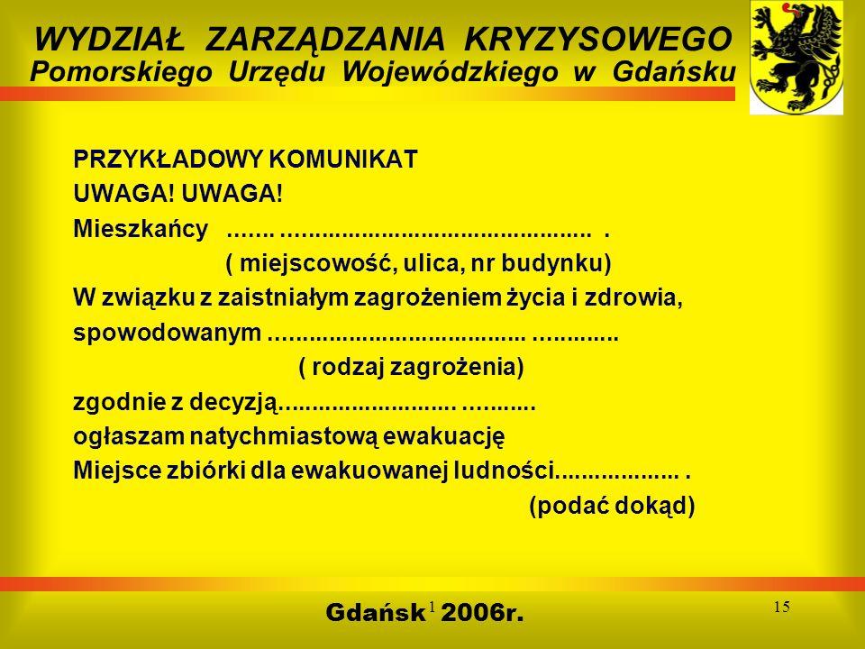 115 Gdańsk 2006r. WYDZIAŁ ZARZĄDZANIA KRYZYSOWEGO Pomorskiego Urzędu Wojewódzkiego w Gdańsku PRZYKŁADOWY KOMUNIKAT UWAGA! UWAGA! Mieszkańcy...........
