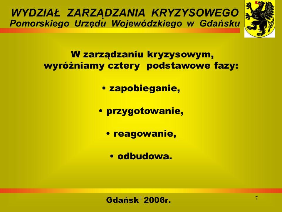 17 Gdańsk 2006r. WYDZIAŁ ZARZĄDZANIA KRYZYSOWEGO Pomorskiego Urzędu Wojewódzkiego w Gdańsku W zarządzaniu kryzysowym, wyróżniamy cztery podstawowe faz