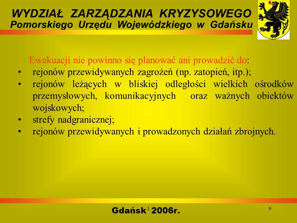 19 Gdańsk 2006r. WYDZIAŁ ZARZĄDZANIA KRYZYSOWEGO Pomorskiego Urzędu Wojewódzkiego w Gdańsku Ewakuacji nie powinno się planować ani prowadzić do: rejon