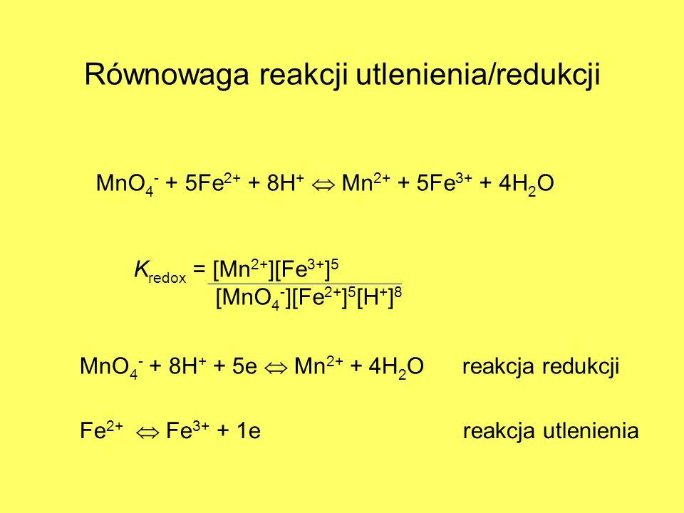 Równowaga reakcji utlenienia/redukcji MnO 4 - + 5Fe 2+ + 8H + Mn 2+ + 5Fe 3+ + 4H 2 O K redox = [Mn 2+ ][Fe 3+ ] 5 [MnO 4 - ][Fe 2+ ] 5 [H + ] 8 MnO 4