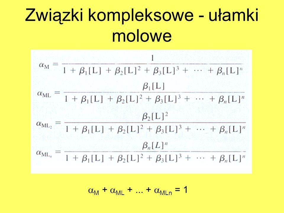 Związki kompleksowe - ułamki molowe M + ML +... + MLn = 1