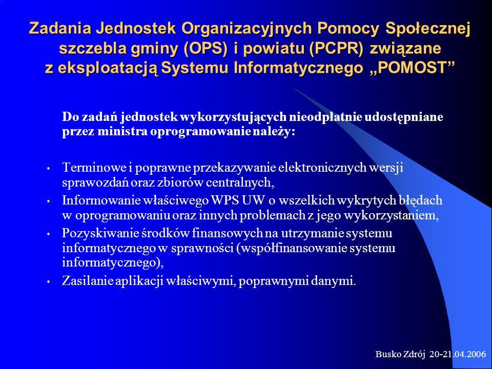 Busko Zdrój 20-21.04.2006 Zadania Jednostek Organizacyjnych Pomocy Społecznej szczebla gminy (OPS) i powiatu (PCPR) związane z eksploatacją Systemu In