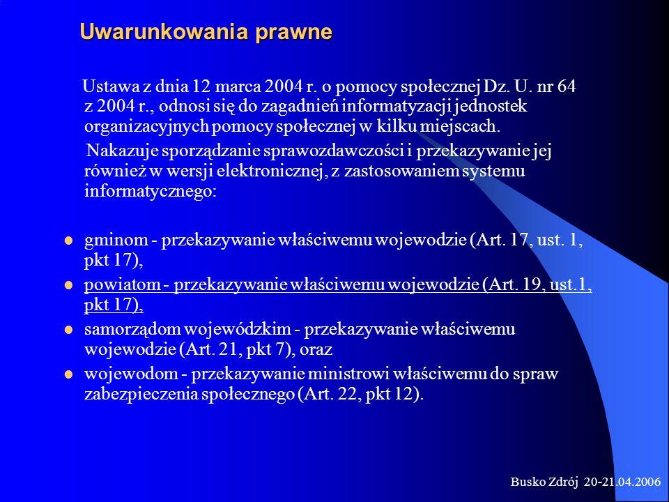 Busko Zdrój 20-21.04.2006 Ustawa z dnia 12 marca 2004 r. o pomocy społecznej Dz. U. nr 64 z 2004 r., odnosi się do zagadnień informatyzacji jednostek