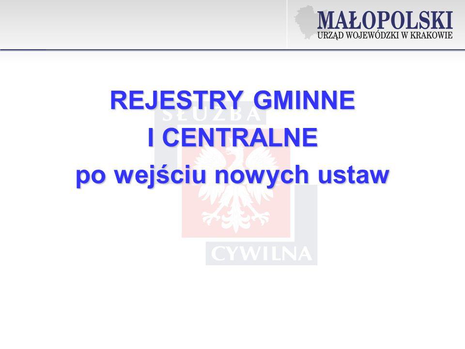 REJESTRY GMINNE I CENTRALNE po wejściu nowych ustaw