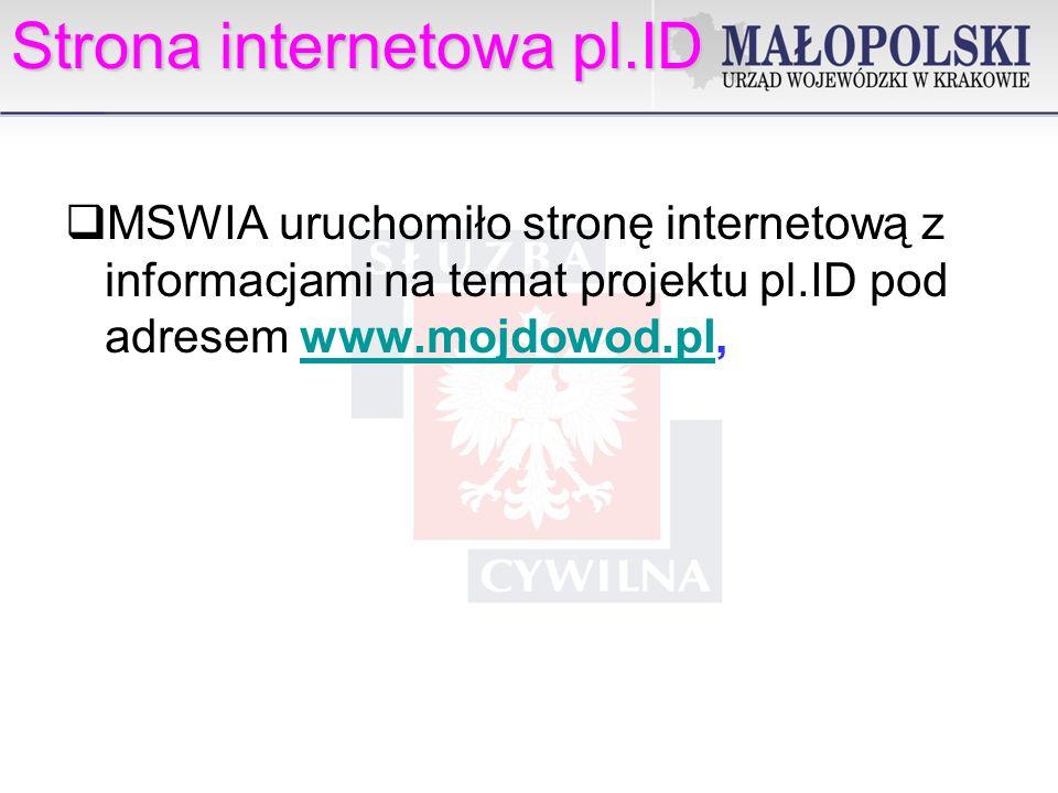 Strona internetowa pl.ID MSWIA uruchomiło stronę internetową z informacjami na temat projektu pl.ID pod adresem www.mojdowod.pl,www.mojdowod.pl