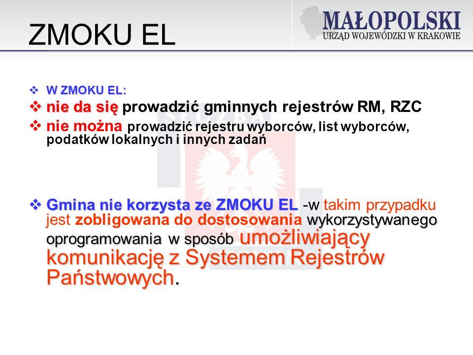 ZMOKU EL W ZMOKU EL: W ZMOKU EL: nie da się nie da się prowadzić gminnych rejestrów RM, RZC nie można prowadzić rejestru wyborców, list wyborców, podatków lokalnych i innych zadań Gmina nie korzysta ze ZMOKU EL wykorzystywanego oprogramowania w sposób umożliwiający komunikację z Systemem Rejestrów Państwowych.