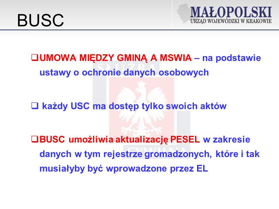 BUSC UMOWA MIĘDZY GMINĄ A MSWIA – na podstawie ustawy o ochronie danych osobowych każdy USC ma dostęp tylko swoich aktów BUSC umożliwia aktualizację PESEL w zakresie danych w tym rejestrze gromadzonych, które i tak musiałyby być wprowadzone przez EL