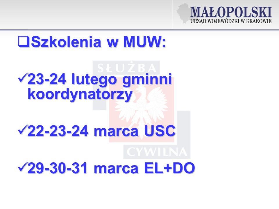 Szkolenia w MUW: Szkolenia w MUW: 23-24 lutego gminni koordynatorzy 23-24 lutego gminni koordynatorzy 22-23-24 marca USC 22-23-24 marca USC 29-30-31 marca EL+DO 29-30-31 marca EL+DO