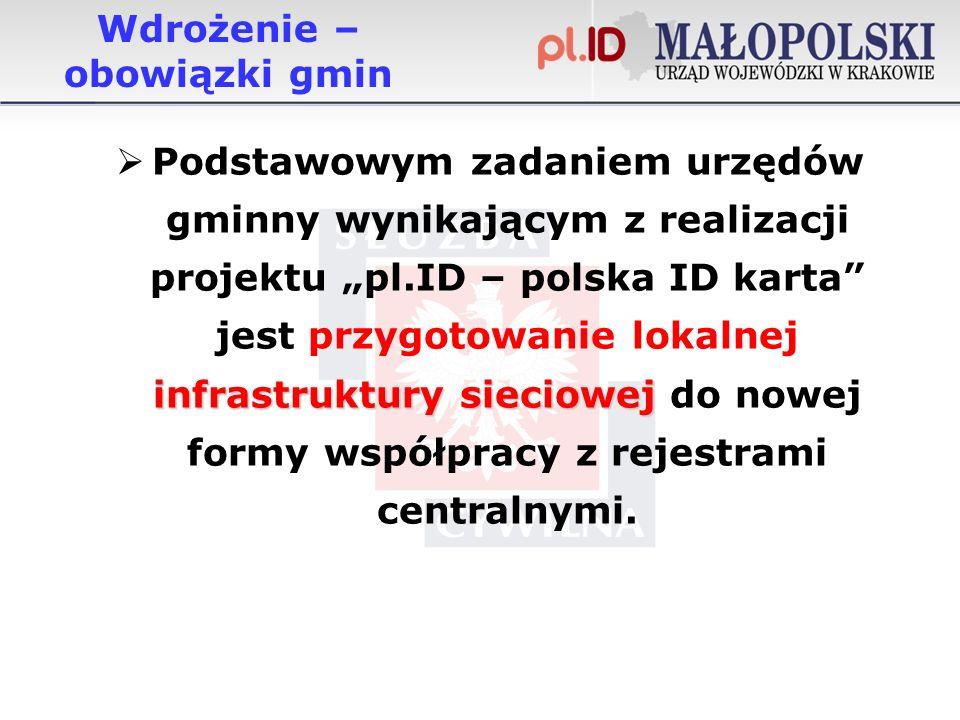 Wdrożenie – obowiązki gmin infrastruktury sieciowej Podstawowym zadaniem urzędów gminny wynikającym z realizacji projektu pl.ID – polska ID karta jest przygotowanie lokalnej infrastruktury sieciowej do nowej formy współpracy z rejestrami centralnymi.