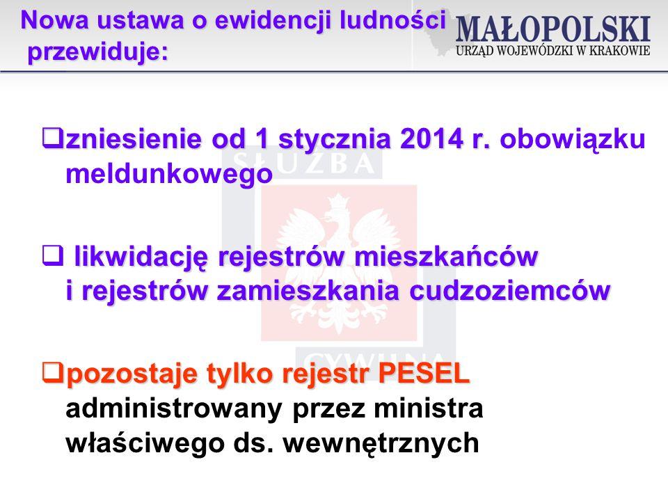 Nowa ustawa o ewidencji ludności przewiduje: zniesienie od 1 stycznia 2014 r.