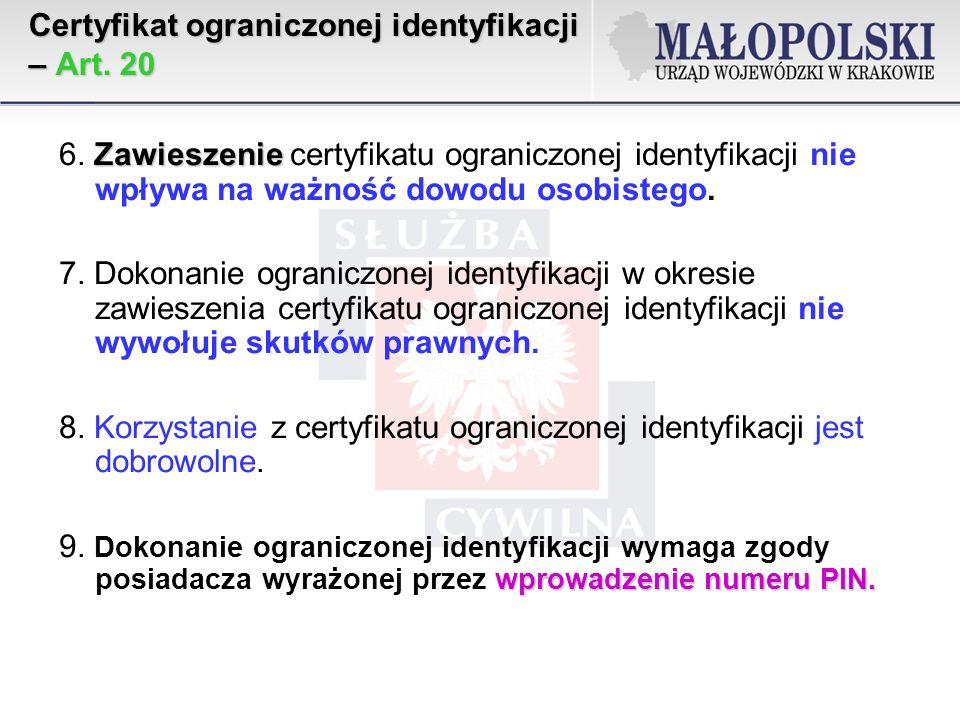 Certyfikat ograniczonej identyfikacji – Art.20 Zawieszenie 6.