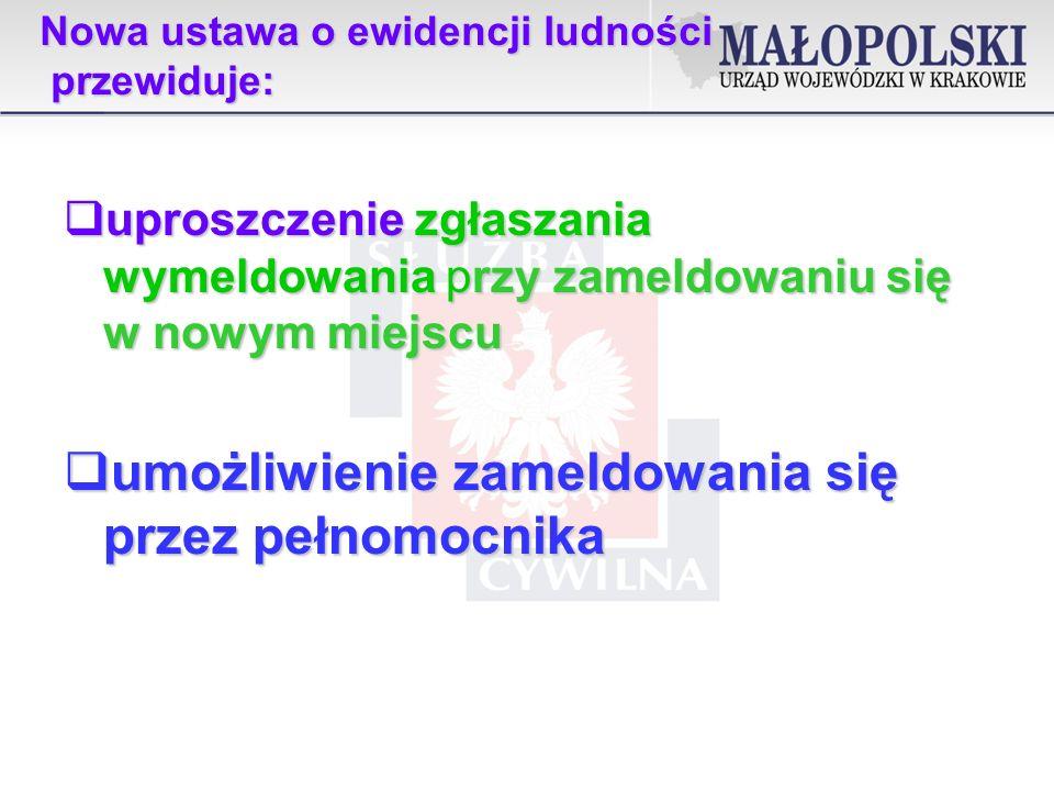 Nowa ustawa o ewidencji ludności przewiduje: uproszczenie formularzy meldunkowych poprzez ograniczenie danych w nim zawartych uproszczenie formularzy meldunkowych poprzez ograniczenie danych w nim zawartych zniesienie, w stosunku do obywateli polskich, obywateli UE, EOG oraz obywateli Konfederacji Szwajcarskiej i członków ich rodzin, sankcji karnej za niedokonanie obowiązku meldunkowego zniesienie, w stosunku do obywateli polskich, obywateli UE, EOG oraz obywateli Konfederacji Szwajcarskiej i członków ich rodzin, sankcji karnej za niedokonanie obowiązku meldunkowego umożliwienie stosowania środków komunikacji elektronicznej - wymeldowanie, zgłoszenie wyjazdu za granicę i powrotu zza granicy umożliwienie stosowania środków komunikacji elektronicznej - wymeldowanie, zgłoszenie wyjazdu za granicę i powrotu zza granicy