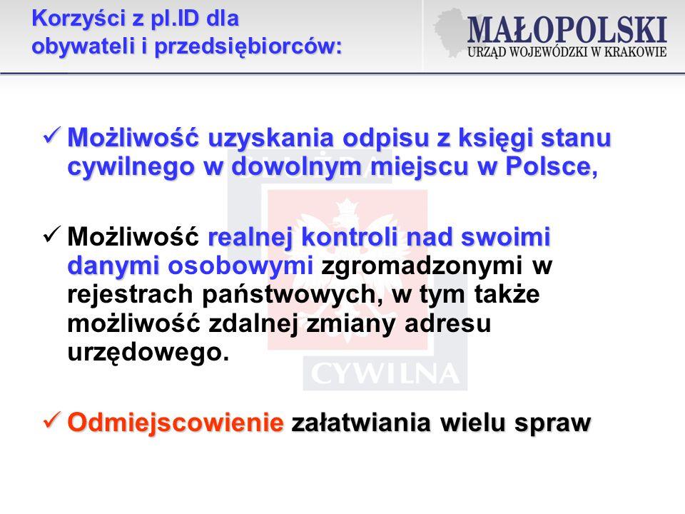 Korzyści z pl.ID dla obywateli i przedsiębiorców: Możliwość uzyskania odpisu z księgi stanu cywilnego w dowolnym miejscu w Polsce Możliwość uzyskania odpisu z księgi stanu cywilnego w dowolnym miejscu w Polsce, realnej kontroli nad swoimi danymi Możliwość realnej kontroli nad swoimi danymi osobowymi zgromadzonymi w rejestrach państwowych, w tym także możliwość zdalnej zmiany adresu urzędowego.