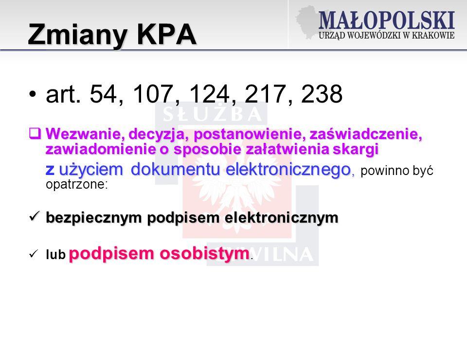 Zmiany KPA art.