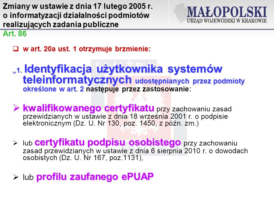 Zmiany w ustawie z dnia 17 lutego 2005 r.
