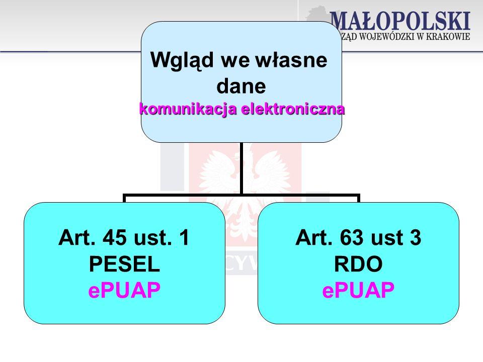 Wgląd we własne dane komunikacja elektroniczna Art. 45 ust. 1 PESEL ePUAP Art. 63 ust 3 RDO ePUAP