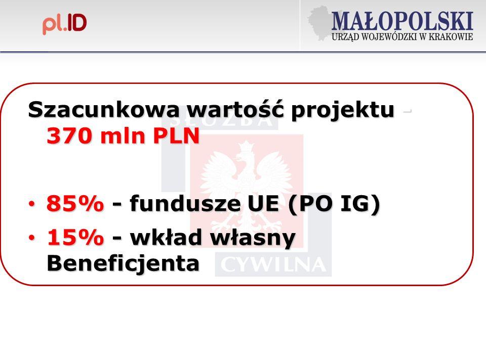 Szacunkowa wartość projektu - 370 mln PLN 85% - fundusze UE (PO IG) 85% - fundusze UE (PO IG) 15% - wkład własny Beneficjenta 15% - wkład własny Beneficjenta