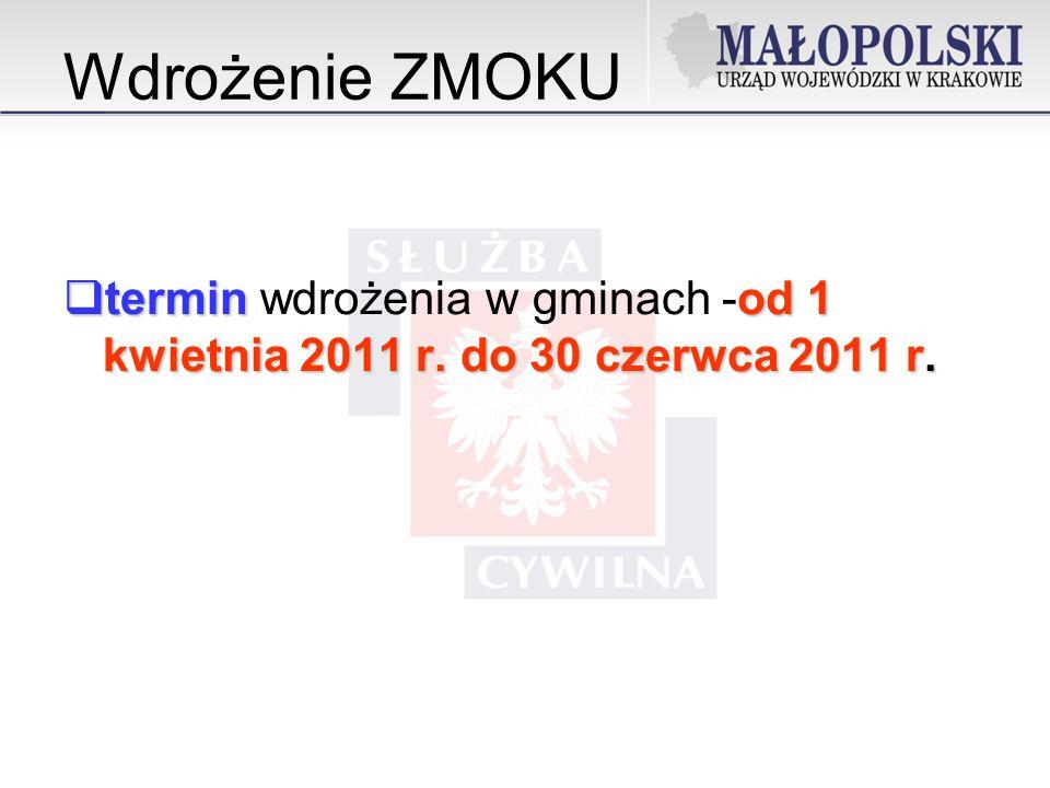 Wdrożenie ZMOKU terminod 1 kwietnia 2011 r.do 30 czerwca 2011 r.
