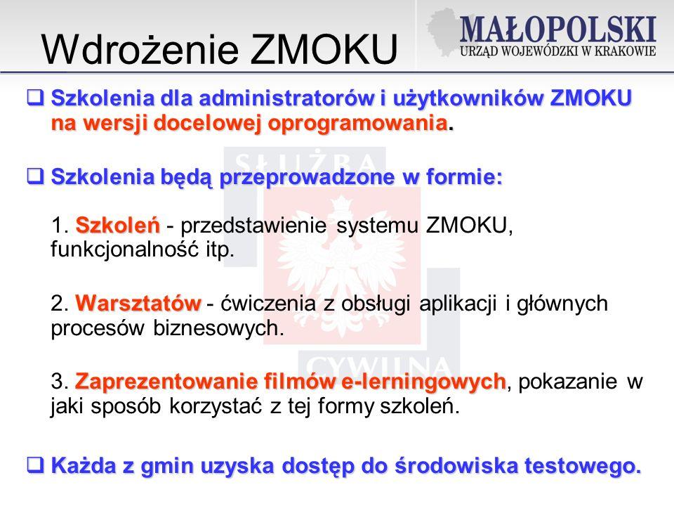 Wdrożenie ZMOKU Szkolenia dla administratorów i użytkowników ZMOKU na wersji docelowej oprogramowania.