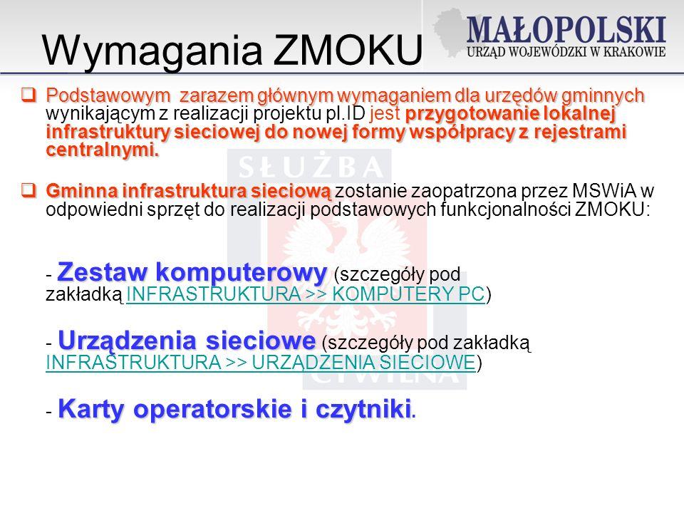 Wymagania ZMOKU Podstawowym zarazem głównym wymaganiem dla urzędów gminnych przygotowanie lokalnej infrastruktury sieciowej do nowej formy współpracy z rejestrami centralnymi.