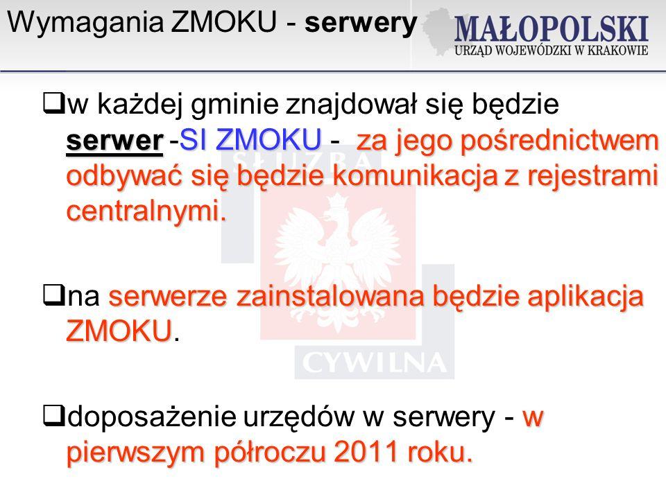 Wymagania ZMOKU - serwery serwerSI ZMOKUza jego pośrednictwem odbywać się będzie komunikacja z rejestrami centralnymi.