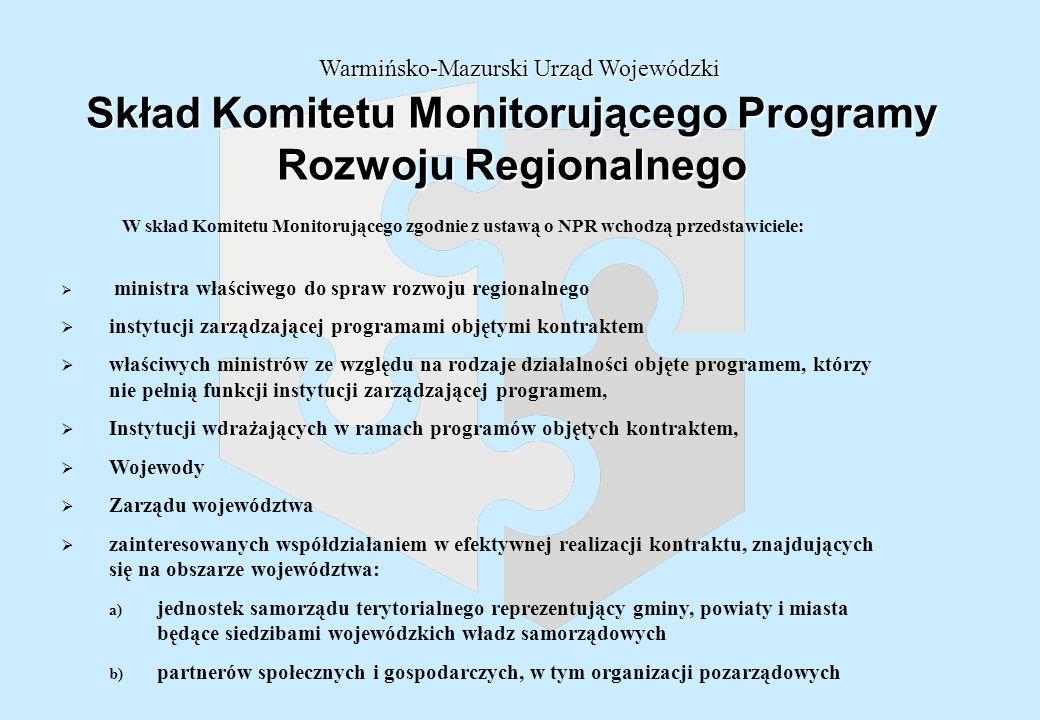 Skład Komitetu Monitorującego Programy Rozwoju Regionalnego Warmińsko-Mazurski Urząd Wojewódzki ministra właściwego do spraw rozwoju regionalnego instytucji zarządzającej programami objętymi kontraktem właściwych ministrów ze względu na rodzaje działalności objęte programem, którzy nie pełnią funkcji instytucji zarządzającej programem, Instytucji wdrażających w ramach programów objętych kontraktem, Wojewody Zarządu województwa zainteresowanych współdziałaniem w efektywnej realizacji kontraktu, znajdujących się na obszarze województwa: a) jednostek samorządu terytorialnego reprezentujący gminy, powiaty i miasta będące siedzibami wojewódzkich władz samorządowych b) partnerów społecznych i gospodarczych, w tym organizacji pozarządowych W skład Komitetu Monitorującego zgodnie z ustawą o NPR wchodzą przedstawiciele: