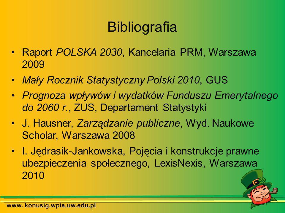 Bibliografia Raport POLSKA 2030, Kancelaria PRM, Warszawa 2009 Mały Rocznik Statystyczny Polski 2010, GUS Prognoza wpływów i wydatków Funduszu Emeryta