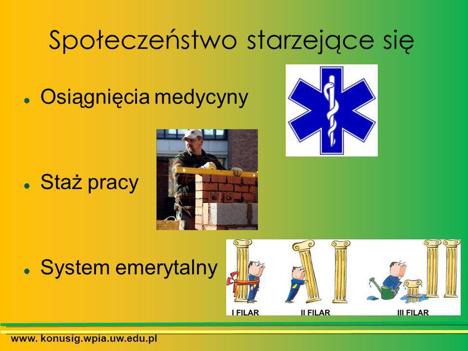Społeczeństwo starzejące się www. konusig.wpia.uw.edu.pl Osiągnięcia medycyny Staż pracy System emerytalny