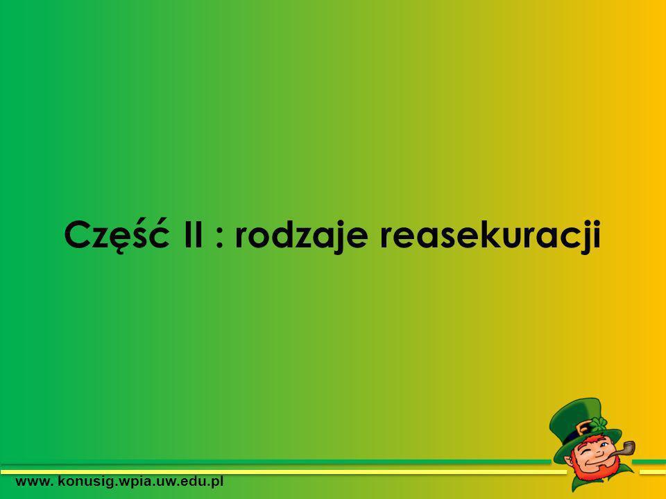 Część II : rodzaje reasekuracji www. konusig.wpia.uw.edu.pl