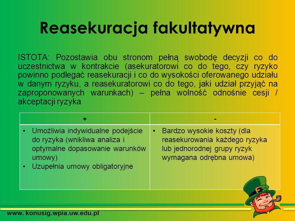 Reasekuracja fakultatywna ISTOTA: Pozostawia obu stronom pełną swobodę decyzji co do uczestnictwa w kontrakcie (asekuratorowi co do tego, czy ryzyko p