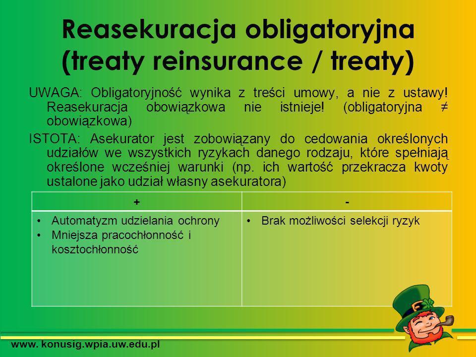 Reasekuracja obligatoryjna (treaty reinsurance / treaty) UWAGA: Obligatoryjność wynika z treści umowy, a nie z ustawy! Reasekuracja obowiązkowa nie is
