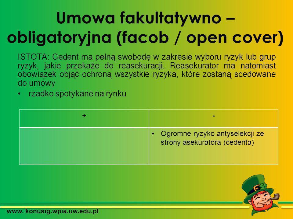 Umowa fakultatywno – obligatoryjna (facob / open cover) ISTOTA: Cedent ma pełną swobodę w zakresie wyboru ryzyk lub grup ryzyk, jakie przekaże do reas