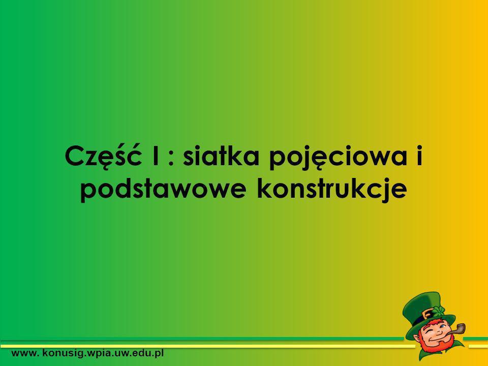 Część I : siatka pojęciowa i podstawowe konstrukcje www. konusig.wpia.uw.edu.pl