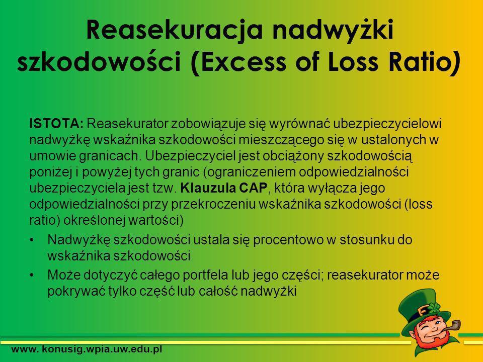 Reasekuracja nadwyżki szkodowości (Excess of Loss Ratio ) ISTOTA: Reasekurator zobowiązuje się wyrównać ubezpieczycielowi nadwyżkę wskaźnika szkodowoś