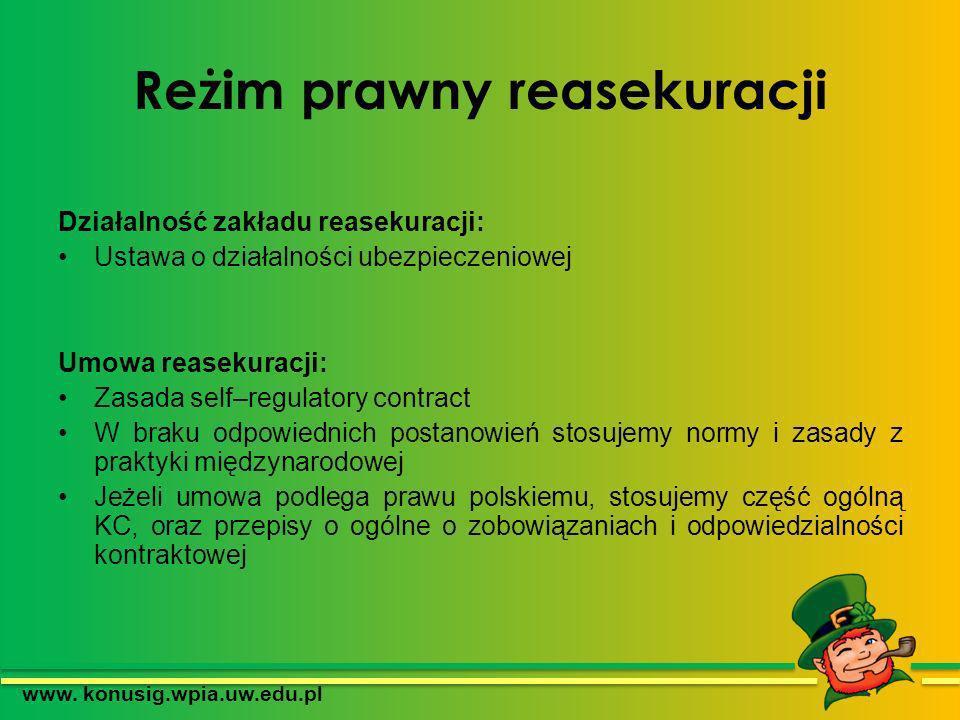 Reżim prawny reasekuracji Działalność zakładu reasekuracji: Ustawa o działalności ubezpieczeniowej Umowa reasekuracji: Zasada self–regulatory contract