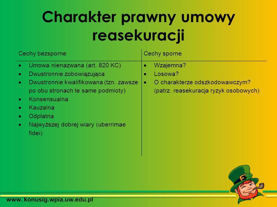 Charakter prawny umowy reasekuracji www. konusig.wpia.uw.edu.pl Cechy bezsporneCechy sporne Umowa nienazwana (art. 820 KC) Dwustronnie zobowiązująca D