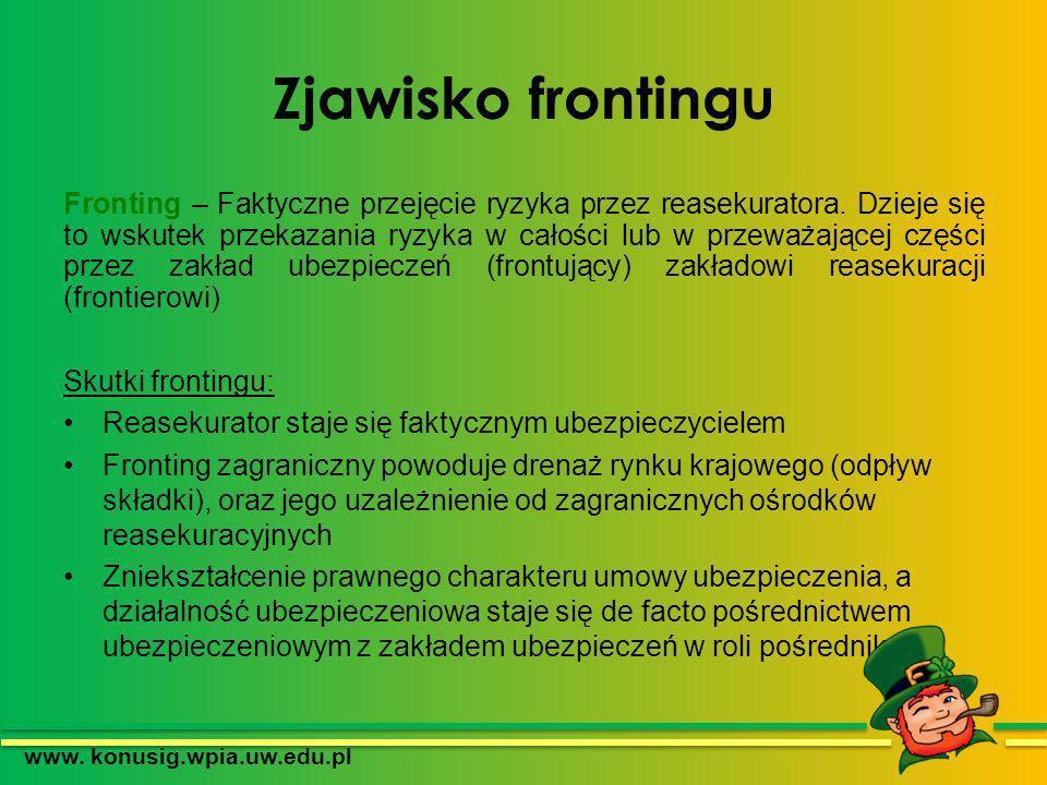 Zjawisko frontingu Fronting – Faktyczne przejęcie ryzyka przez reasekuratora. Dzieje się to wskutek przekazania ryzyka w całości lub w przeważającej c