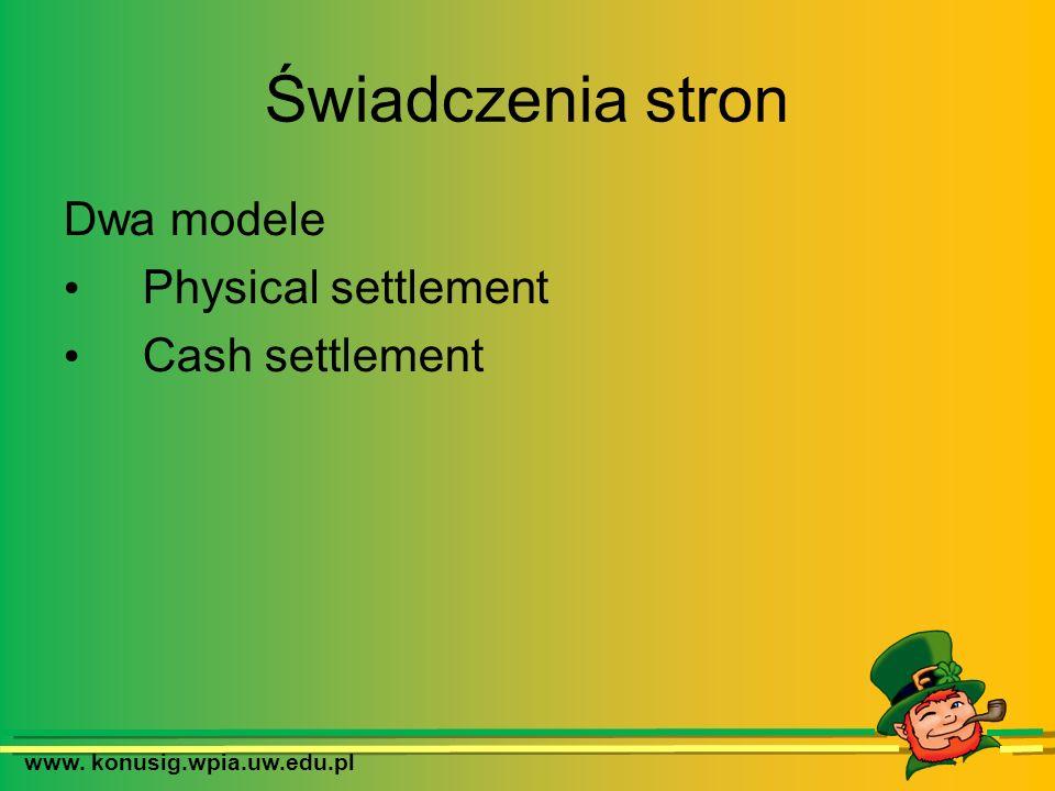 www. konusig.wpia.uw.edu.pl Świadczenia stron Dwa modele Physical settlement Cash settlement