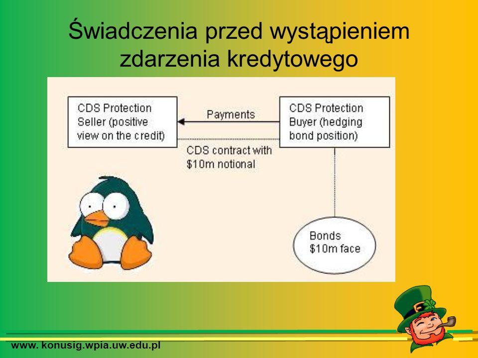 www. konusig.wpia.uw.edu.pl Świadczenia przed wystąpieniem zdarzenia kredytowego
