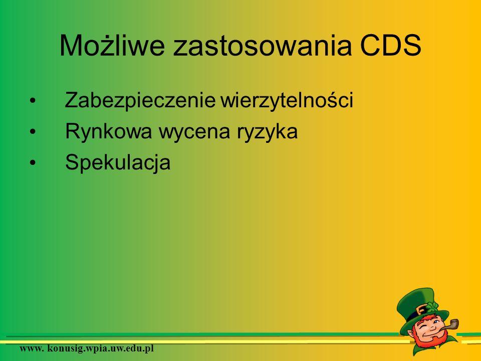 www. konusig.wpia.uw.edu.pl Możliwe zastosowania CDS Zabezpieczenie wierzytelności Rynkowa wycena ryzyka Spekulacja