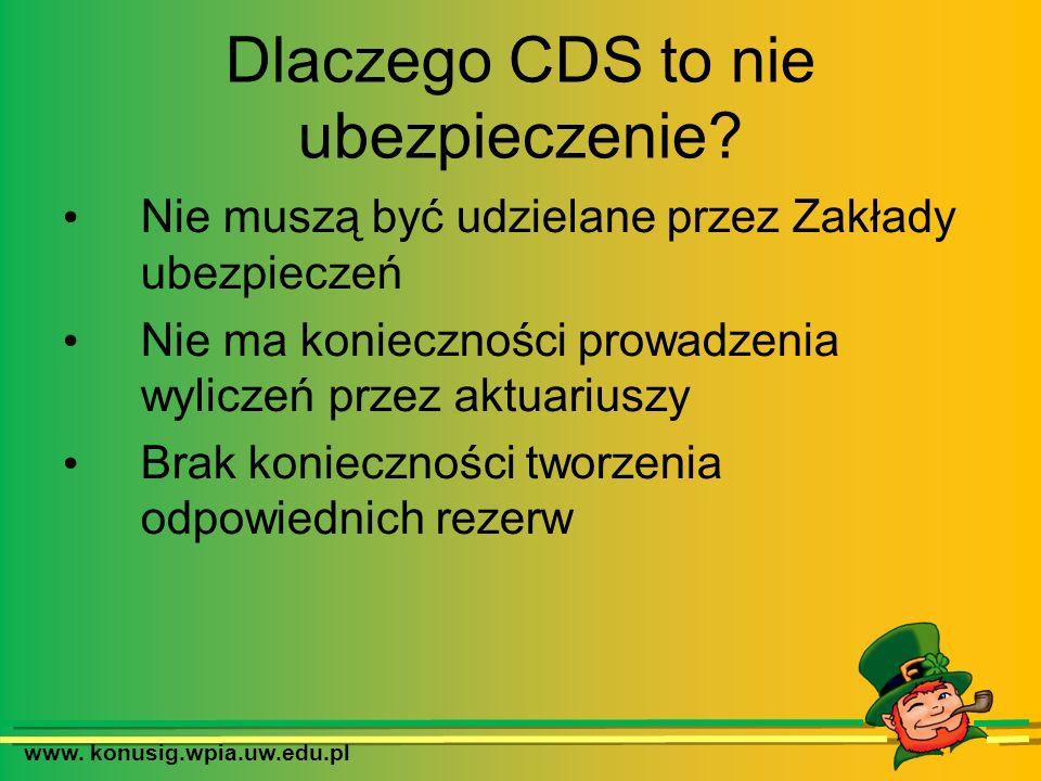 www. konusig.wpia.uw.edu.pl Dlaczego CDS to nie ubezpieczenie? Nie muszą być udzielane przez Zakłady ubezpieczeń Nie ma konieczności prowadzenia wylic